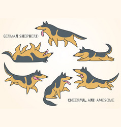 funny cute cartoon german shepherd dogs vector image