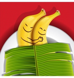 Funny sleeping bananas on a plate vector image