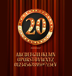 golden alphabet with show lamps isolated vector image