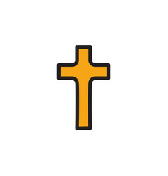 Golden christian cross icon in flat design vector