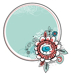 Hand draw flowers combine with circle frame vector