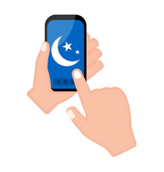 hand holding a smartphone with a moon shape icon vector image