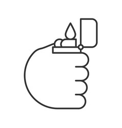hand holding flip lighter linear icon vector image