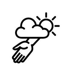Helping hand from god icon outline vector