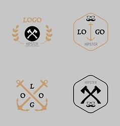Hipster logotype with axe mustache anchor vector