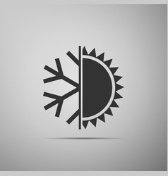 hot and cold symbol sun and snowflake icon vector image