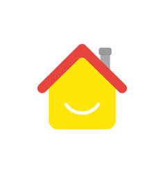 Icon concept of house with smiling mouth vector