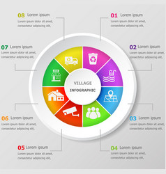 Infographic design template with village icons vector