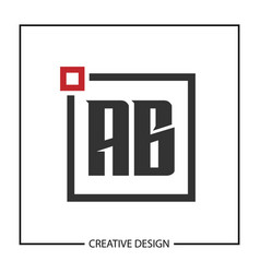 initial letter ab logo template vector image