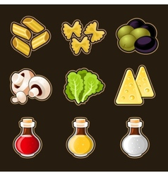 Italian food icon set vector
