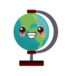 kawaii school globe map earth education element vector image