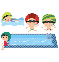 Kids swimming in the pool vector