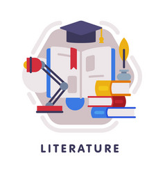 Literature school subject icon education and vector