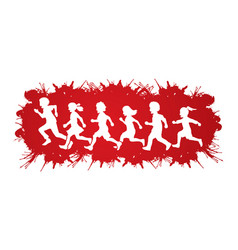 little boy and girl running group of children run vector image