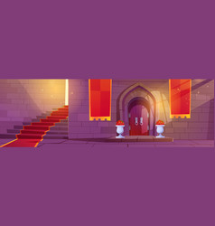 Medieval castle interior with wooden arched door vector
