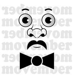 Movember - the man with mustache and bow tie vector