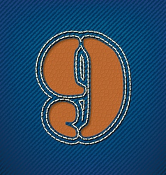 Number 9 made from leather on jeans background vector