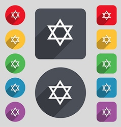 Pentagram icon sign A set of 12 colored buttons vector
