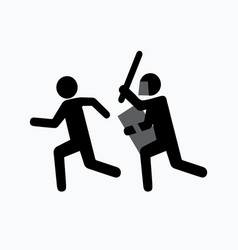 pictogram attack icon one symbolically drawn man vector image