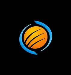 planet globe sphere logo vector image