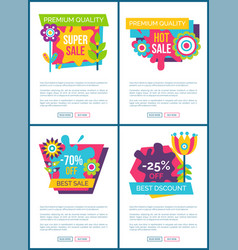 premium quality super sale labels on web posters vector image