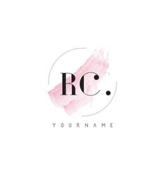 Rc watercolor letter logo design with circular vector