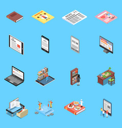 Reading and library icons set vector
