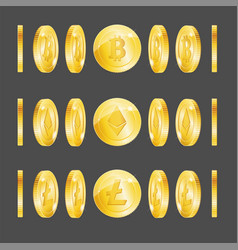 realistic 3d detailed bitcoin lightcoin etherium vector image