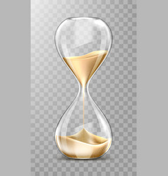 realistic hourglass transparent sand clock vector image