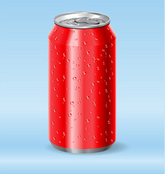 Red aluminum drink soda can with water droplets vector