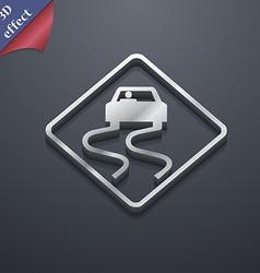 Road slippery icon symbol 3D style Trendy modern vector
