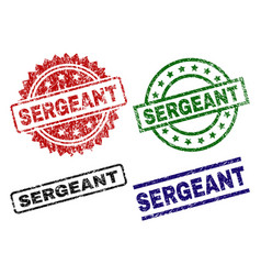 Scratched textured sergeant seal stamps vector