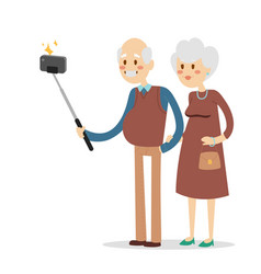 selfie grandpa grandma isolated vector image