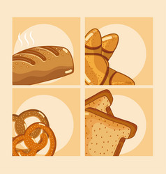 set of delcious breads vector image