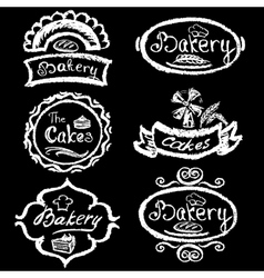 Set of vintage hand drawing chalk style bakery vector