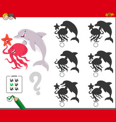 shadows game with marine animal characters vector image