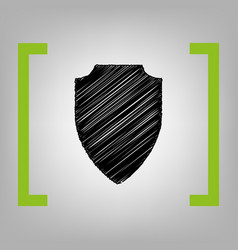 shield sign black scribble vector image