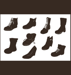 shoes icon set for web design vector image
