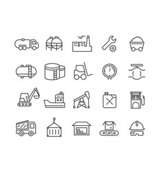 Simple set of industrial thin line icons vector