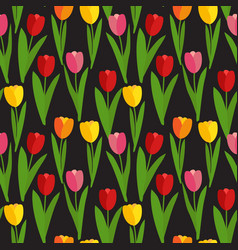 spring tulip flowers seamless pattern background vector image