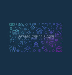 stay at home concept colorful line vector image