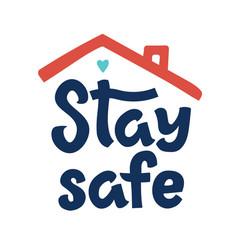 Stay safe logo template quarantine or self vector