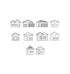 thin line home icon set vector image