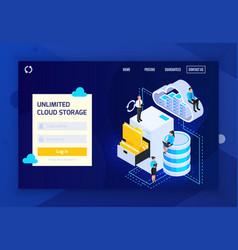 Unlimited cloud storage website vector
