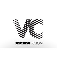Vc v c lines letter design with creative elegant vector