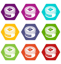 wall paint bucket icons set 9 vector image