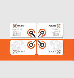 White business card with orange copter vector