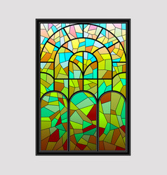 window from a multicolored mosaic vector image