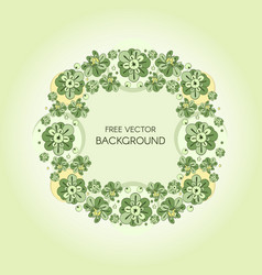wreath with green stylized flowers and vector image