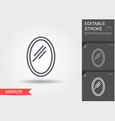 wwall mirror line icon with editable stroke with vector image